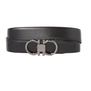 FERRAGAMO Gancio Reversible Leather Belt